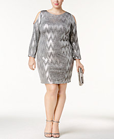 Jessica Howard Plus Size Sequined Cold-Shoulder Shift Dress