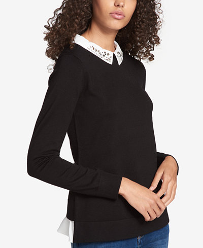 Tommy Hilfiger Rhinestone-Embellished Layered-Look Sweater, Created for Macy's