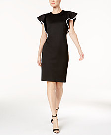 Calvin Klein Piped-Ruffle Sheath Dress