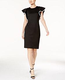 Calvin Klein Piped-Ruffle Sheath Dress