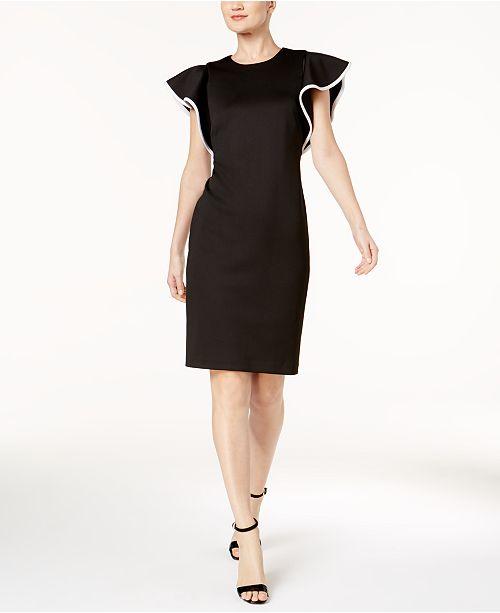 5d0333ba1424d Calvin Klein Piped-Ruffle Sheath Dress   Reviews - Dresses - Women ...