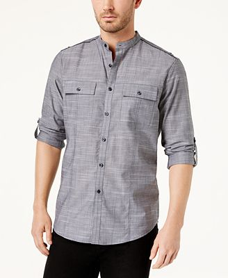 I.N.C. Men's Chambray Band-Collar Shirt, Created for Macy's ...