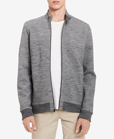 Calvin Klein Men's Space-Dyed Knit Moto Sweatshirt