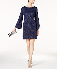 Jessica Howard Bell-Sleeve Glitter Shift Dress