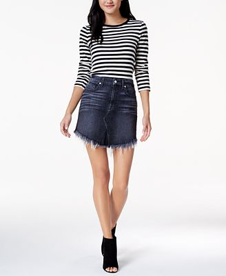 7 For All Mankind Denim Mini Skirt with Scallop Raw Hem