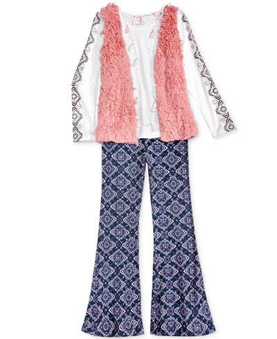 Belle Du Jour 3-Pc. Faux-Fur Vest, Top & Pants Set, Big Girls