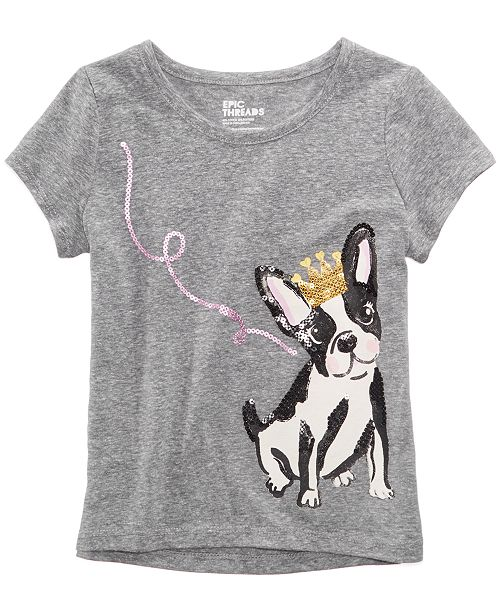 Sequin Puppy T-Shirt, Little Girls, Created for Macy's