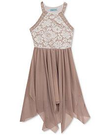 Rare Editions Lace-Bodice Handkerchief-Hem Dress, Big Girls