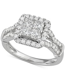 Diamond Quad Halo Engagement Ring (1-1/2 ct. t.w.) in 14k White Gold