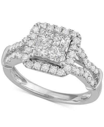 diamond quad halo engagement ring 1 12 ct tw in macys - Macys Wedding Rings