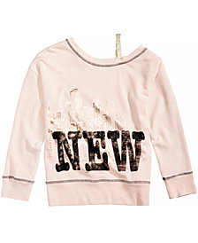 Kandy Kiss Off-The-Shoulder New York Sweatshirt, Big Girls