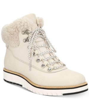 Women'S Grand Explorer Waterproof Nubuck Leather & Shearling Hiking Booties, Pumice Stone Nubuck