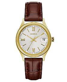 Caravelle Designed by Bulova  Women's Brown Leather Strap Watch 32mm