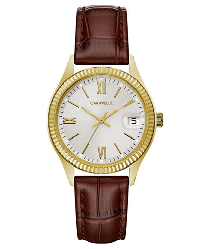 Caravelle Women's Brown Leather Strap Watch 32mm