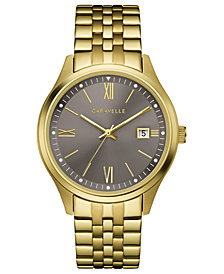 Caravelle Men's Gold-Tone Stainless Steel Bracelet Watch 41mm