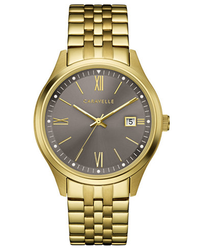 Caravelle Men's Gold-Tone Stainless Steel Bracelet Watch 41mm