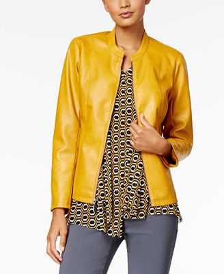 Alfani Stitch Detail Faux-Leather Jacket, Created for Macy's