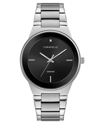 Caravelle Men's Diamond-Accent Stainless Steel Bracelet Watch 40mm