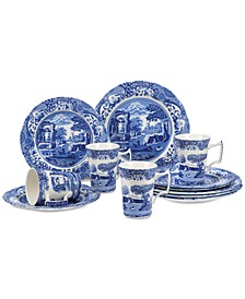 Dinnerware, Blue Italian 12-Piece Set, Service for 4