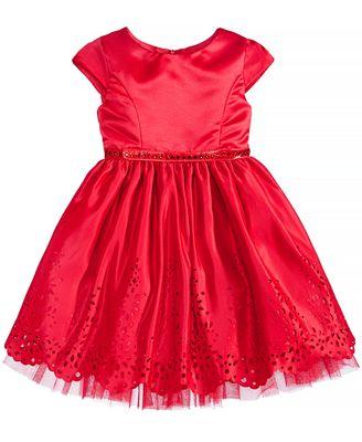 Sweet Heart Rose Laser Cut Special Occasion Dress, Little Girls (4-6X)