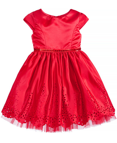 Sweet Heart Rose Laser Cut Special Occasion Dress, Little Girls (4-6X)