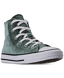 Converse Little Girls' Chuck Taylor High Top Velvet Casual Sneakers from Finish Line