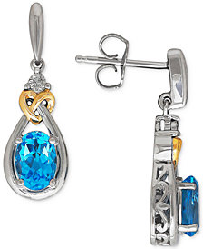 Blue Topaz (1-3/4 ct. t.w.) & Diamond Accent Drop Earrings in Sterling Silver & 14k Gold