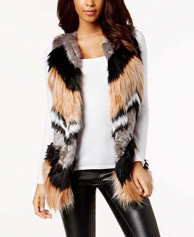 Bar Iii Chevron Patchwork Faux Fur Vest