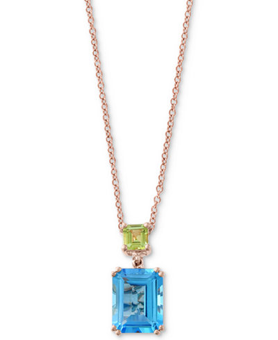 EFFY Collection Blue Topaz (4 ct. t.w.) & Peridot (5/8 ct. t.w.) Pendant Necklace in 14k Rose Gold