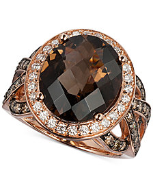 Le Vian Chocolatier® Chocolate Quartz® (6 ct. t.w.) & Diamond (1-1/6 ct. t.w.) in 14k Rose Gold