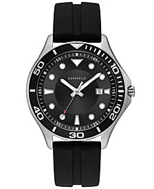 Caravelle Men's Black Silicone Strap Watch 42mm
