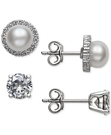 2-Pc. Set Cultured Freshwater Pearl (6mm) & Cubic Zirconia Stud Earrings in Sterling Silver, Created for Macy's