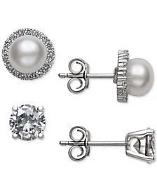 Belle de Mer 2-Pc. Set Cultured Freshwater Pearl (6mm) & Cubic Zirconia Stud Earrings in Sterling Silver, Created for Macy's