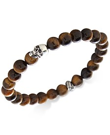 DEGS & SAL Men's Manufactured Turquoise Skull Bracelet in Sterling Silver (Also in Tiger's Eye, Lava Rock & Onyx)