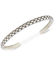 DEGS & SAL Men's Patterned Cuff Bracelet in Sterling Silver
