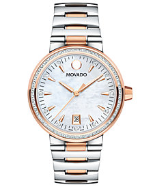 Movado Women's Swiss Vizio Diamond (3/8 ct. t.w.) Two-Tone Stainless Steel Bracelet Watch 34mm
