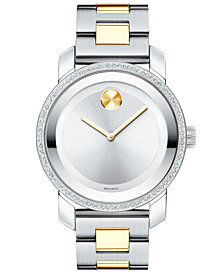 Movado Women's Swiss BOLD Diamond (3/8 ct. t.w.) Two-Tone Stainless Steel Bracelet Watch 36mm