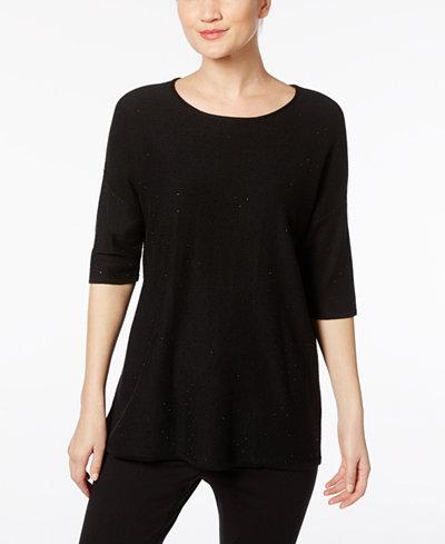 Anne Klein Sequin-Embellished Knit T-Shirt