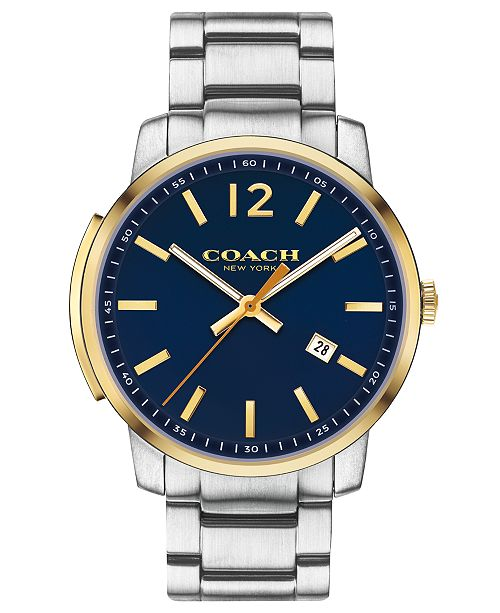 COACH Men's Bleecker Slim Stainless Steel Bracelet Watch 42mm