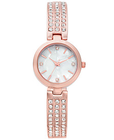Charter Club Women's Rose Gold-Tone Pavé Bracelet Watch 26mm, Created for Macy's