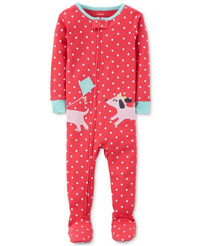 Carter's 1-Pc. Dot-Print Dog Footed Pajamas, Baby Girls