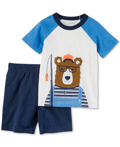 Carter's 2-Pc. Cotton Bear T-Shirt & Shorts Set, Baby Boys