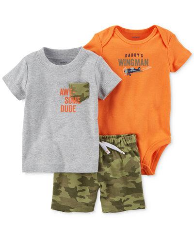 Carter's 3-Pc. Cotton T-Shirt, Bodysuit & Camo-Print Shorts Set, Baby Boys