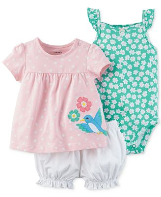 Carter's 3-Pc. Top, Diaper Cover & Bodysuit Cotton Set, Baby Girls