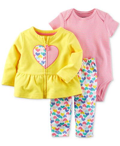 Carter's 3-Pc. Cotton Peplum Jacket, Striped Bodysuit & Heart-Print Pants Set, Baby Girls