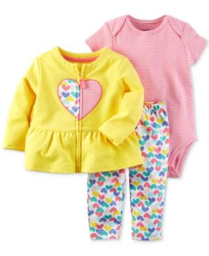 Carters 3Pc Cotton Peplum Jacket Striped Bodysuit  HeartPrint Pants Set Baby Girls (024 months)
