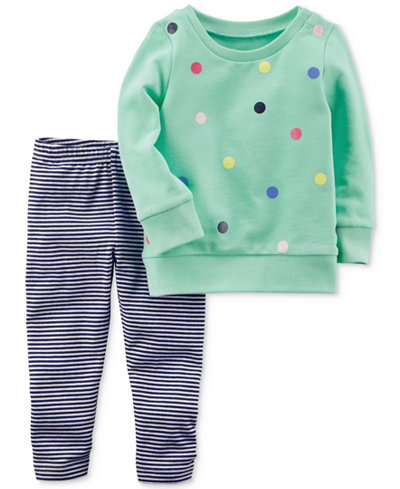 Carter's 2-Pc. Dot-Print Top & Striped Leggings Set, Baby Girls