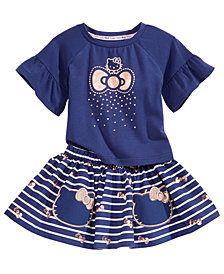 Hello Kitty 2-Pc. Flounce-Sleeve Top & Striped Skirt Set, Baby Girls