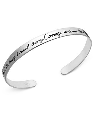 Inspirational Sterling Silver Bracelet Courage Cuff