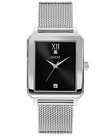 Men's Diamond-Accent Stainless Steel Mesh Bracelet Watch 40x35.5mm